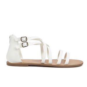 White Flat Gladiator Sandals 8.5